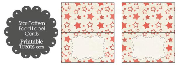 Vintage Red Star Pattern Food Labels