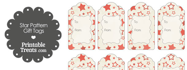 Vintage Red Star Pattern Gift Tags