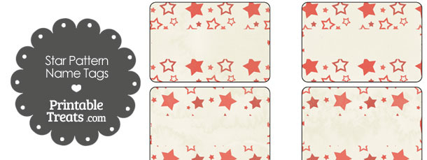 Vintage Red Star Pattern Name Tags