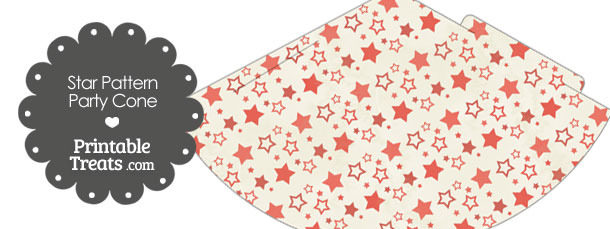 Vintage Red Star Pattern Party Cone