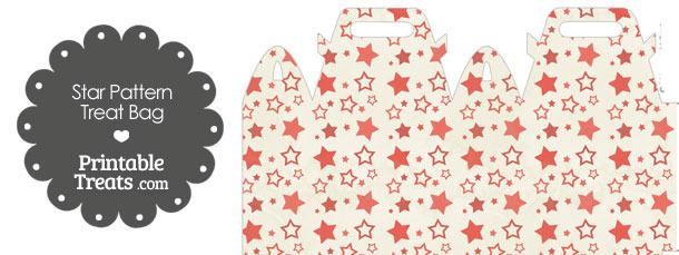 Vintage Red Star Pattern Treat Bag