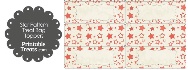 Vintage Red Star Pattern Treat Bag Toppers