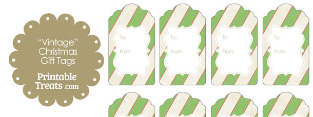 Vintage Red White and Green Diagonal Striped Gift Tags