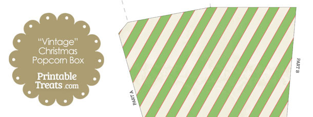 Vintage Red White and Green Diagonal Striped Popcorn Box