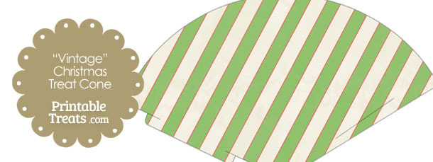 Vintage Red White and Green Diagonal Striped Printable Treat Cone