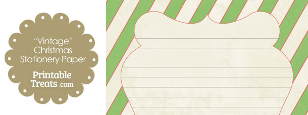 Vintage Red White and Green Diagonal Striped Stationery Paper