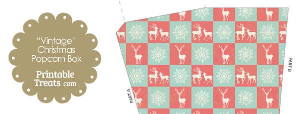 Vintage Reindeer and Snowflakes Popcorn Box