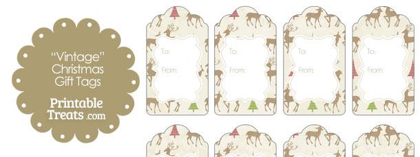 Vintage Reindeer Gift Tags