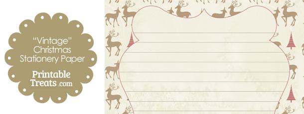 Vintage Reindeer Stationery Paper
