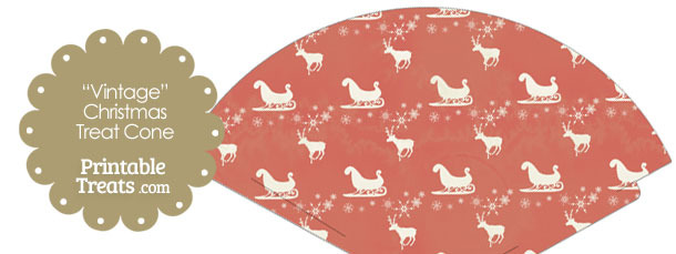 Vintage Santas Sleigh Printable Treat Cone