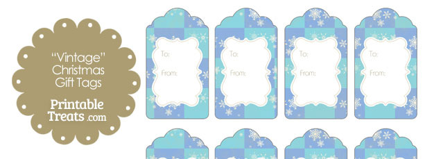 Vintage Snowflake Checkered Gift Tags