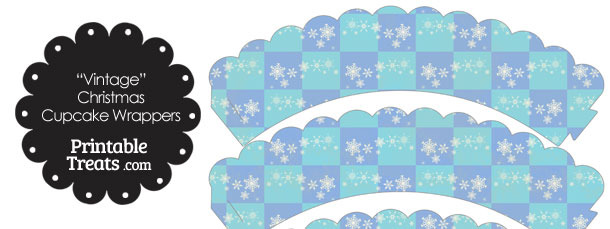 Vintage Snowflake Checkered Scalloped Cupcake Wrappers