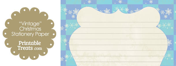 Vintage Snowflake Checkered Stationery Paper
