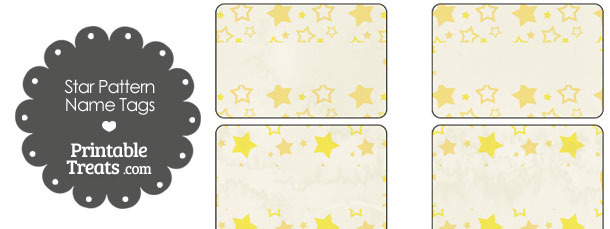 Vintage Yellow Star Pattern Name Tags