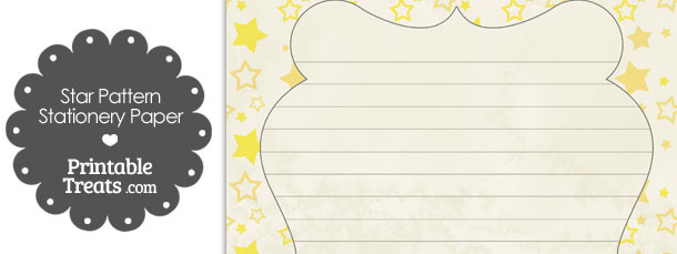 Vintage Yellow Star Pattern Stationery Paper