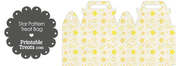Vintage Yellow Star Pattern Treat Bag