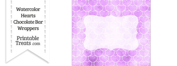 Violet Watercolor Hearts Chocolate Bar Wrappers
