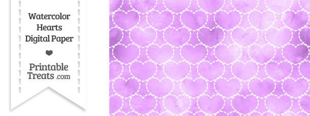 Violet Watercolor Hearts Digital Scrapbook Paper