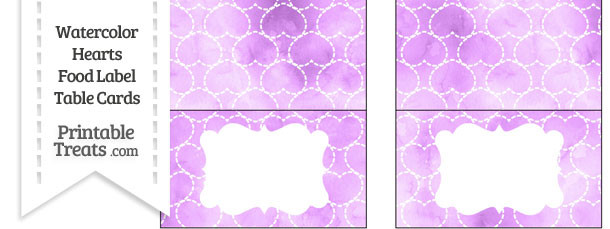 Violet Watercolor Hearts Food Labels