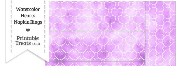 Violet Watercolor Hearts Napkin Rings