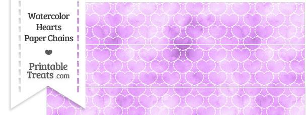Violet Watercolor Hearts Paper Chains