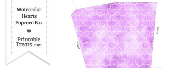 Violet Watercolor Hearts Popcorn Box