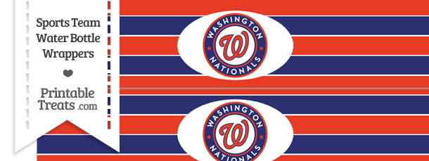 Washington Nationals Water Bottle Wrappers