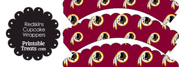 Washington Redskins Logo Scalloped Cupcake Wrappers