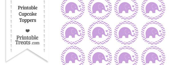 Wisteria Baby Elephant Chevron Cupcake Toppers