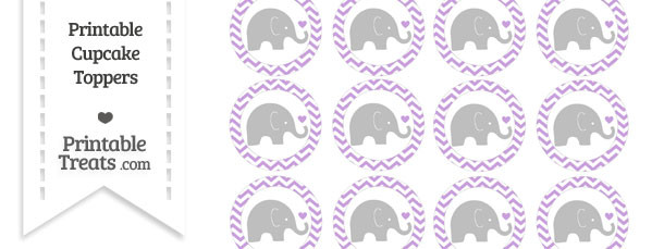 Wisteria Chevron Baby Elephant Cupcake Toppers