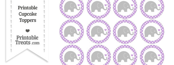 Wisteria Polka Dot Baby Elephant Cupcake Toppers