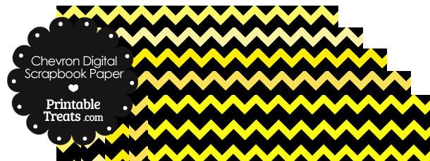 Yellow and Black Chevron Digital Scrapbook Paper