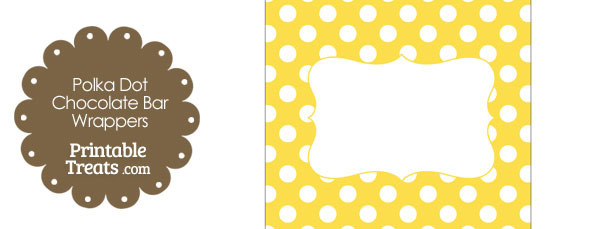 Yellow and White Polka Dot Chocolate Bar Wrappers