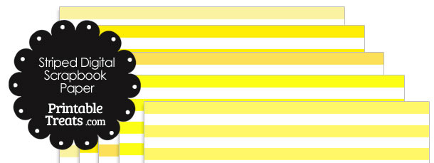 Yellow and White Striped Digital Scrapbook Paper