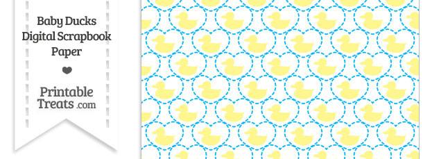 Yellow Baby Ducks Digital Scrapbook Paper