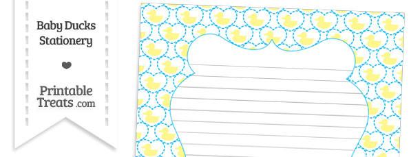Yellow Baby Ducks Stationery Paper