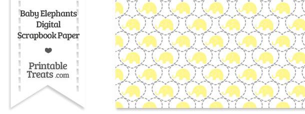 Yellow Baby Elephants Digital Scrapbook Paper