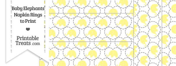 Yellow Baby Elephants Napkin Rings