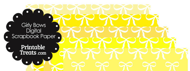 Yellow Background Girly Bow Digital Scrapbook Paper