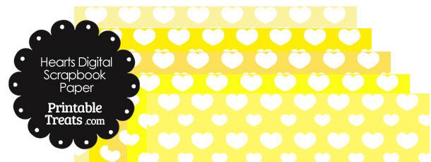 Yellow Background Heart Digital Scrapbook Paper