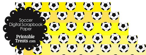 Yellow Background Soccer Digital Scrapbook Paper
