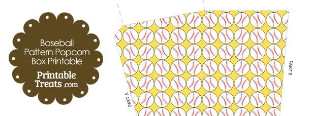 Yellow Baseball Pattern Popcorn Box