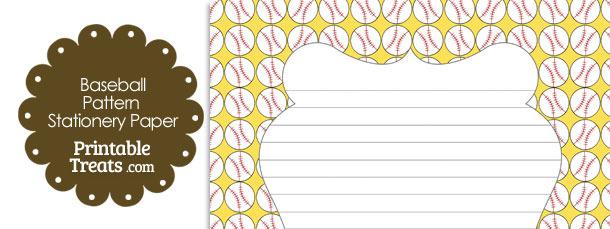 Yellow Baseball Pattern Stationery Paper