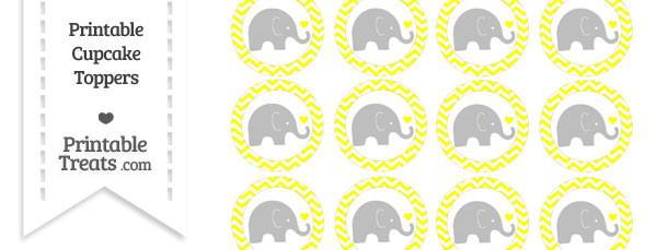 Yellow Chevron Baby Elephant Cupcake Toppers
