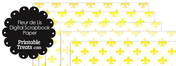 Yellow Fleur de Lis Digital Scrapbook Paper