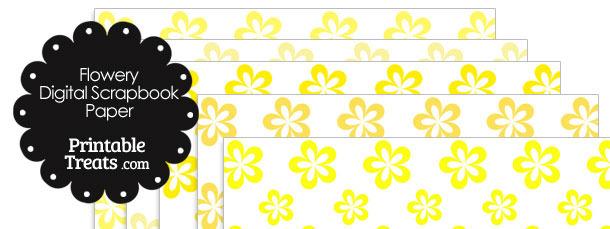 Yellow Flower Digital Scrapbook Paper