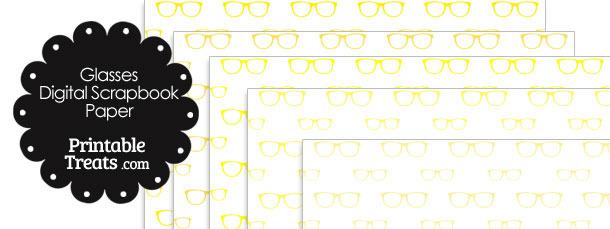 Yellow Glasses Digital Scrapbook Paper