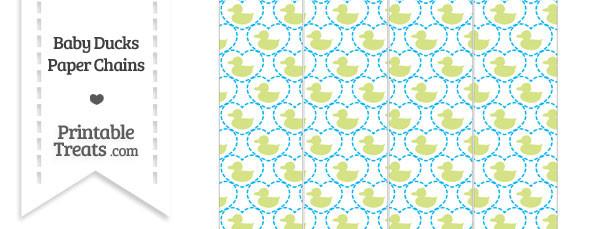 Yellow Green Baby Ducks Paper Chains
