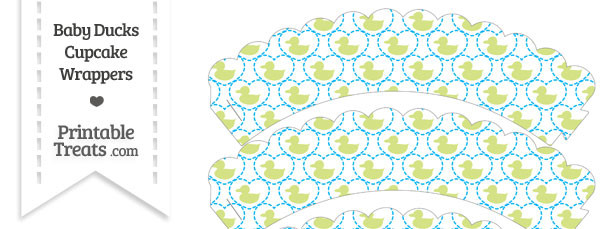 Yellow Green Baby Ducks Scalloped Cupcake Wrappers