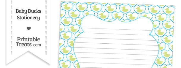 Yellow Green Baby Ducks Stationery Paper
